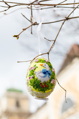 Colorful painted Easter egg on the tree