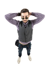 Funny young relaxed hipster portrait