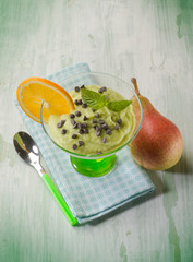 mousse with avocado pear and chocolate drops