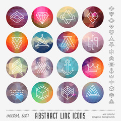 abstract line icons on colorful polygonal backgrounds