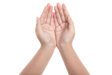 Hand of girl praying