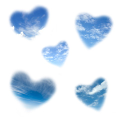 heart shape cloudy sky isolated