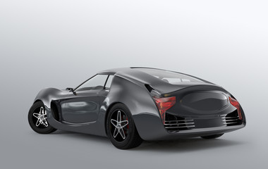 Rear view of gray sports car on gray background.