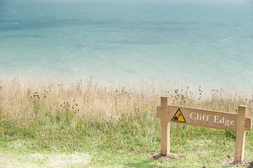 UK, England, East Sussex, Eastbourne, Cliff edge danger sign