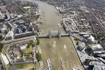 UK, London, Aerial view of Tower Bridge and city