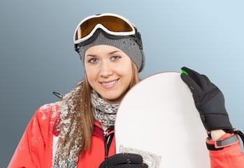 Winter, Women, Snowboarding.