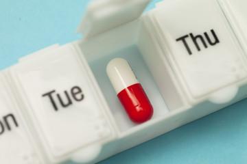 Close up of daily pill box