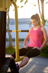 Woman concentrating during lower body exercises
