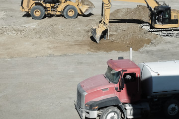 Construction equipment at construction site
