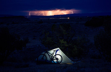 USA, Colorado, Camping night light