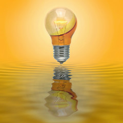 Enlighten bulb with no electrical connection filled with yellow water