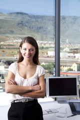 Cape Town, South Africa, Portrait of businesswoman in the office