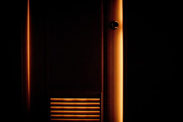 Door shining with orange color