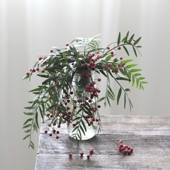 Green plant with red berries in vase on table