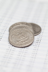 American coins on financial data