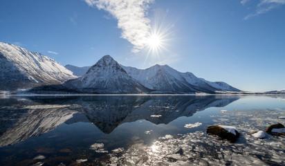 Norway, Hognfjord, Sunshine over mountains