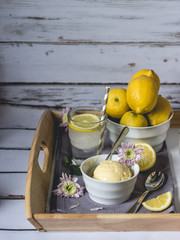 Tray of lemon fruit, ice cream and lemonade