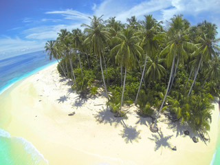 Indonesia, Mentawai Islands, Aerial view of tropical beach