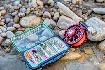 Fishing gear on pebbles