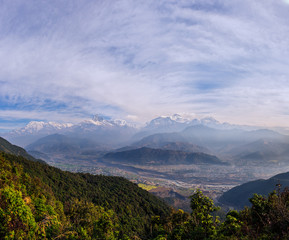 Nepal, View of Annapurna Range from Sarangkot village
