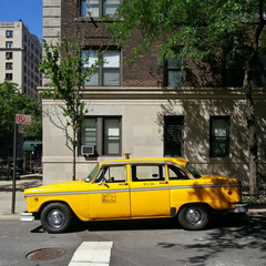 USA, New York State, New York City, Manhattan, Yellow Checker Cab