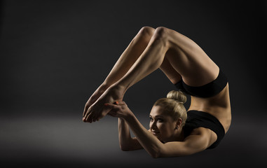 Back Bend Stretching Posture, Bending Woman Acrobat Gymnastics,