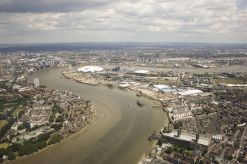 United Kingdom, London, Greenwich, Aerial view of O2 Arena and Greenwich Peninsula