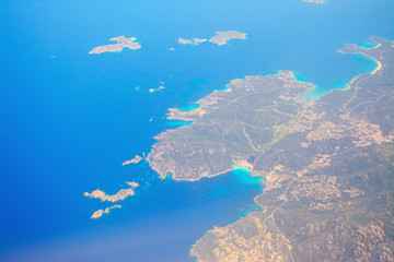 aerial view of costa smeralda coastline