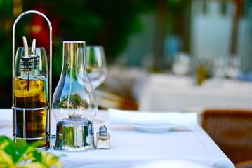 USA, Florida, Monroe County, Key West, Oil & vinaigrette on table in restaurant