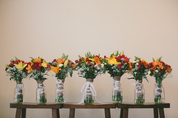 USA, Florida, Walton County, Watercolor, Bride and bridesmaids' bouquets