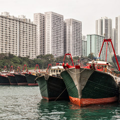 View of anchored boats