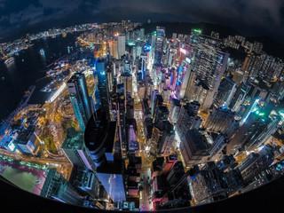 China, Hong Kong, Elevated view of city at night
