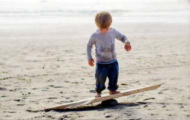 Boy ( 2-3 ) balancing on wooden plank