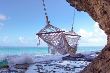 Empty Hammock On The Beach