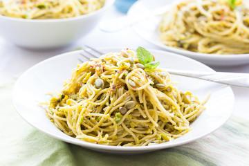 Spaghetti with mint avocado pesto