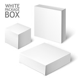 Fototapety Set Of White Package Square. Cardboard Package Box