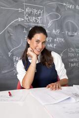 Businesswoman sitting by blackboard in office