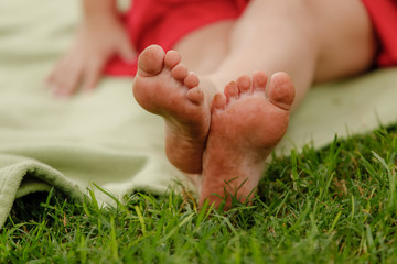 Close-up of girl's feet