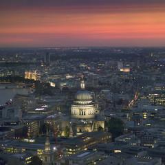 UK, England, London, Illuminated cityscape with St. Paul's Cathedral