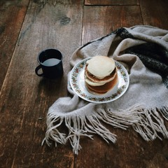 Pancakes and mug of coffee