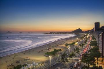 Brazil, Rio de Janeiro, View of Copacabana beach at sunset