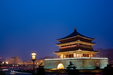 China, Shaanxi, Xian, Drum Tower at night