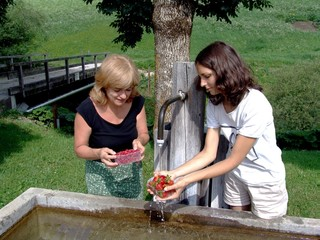 Mother and daughter washing strawberries in countryside
