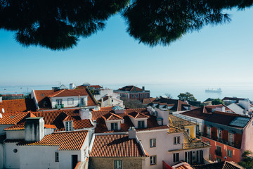Portugal, Lisbon, Elevated view of buildings' rooftops in city