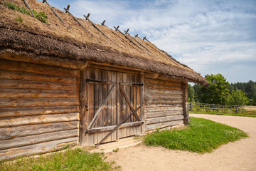 Russian rural wooden architecture example, old barn