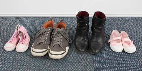 Woman, children and man shoes , family concept