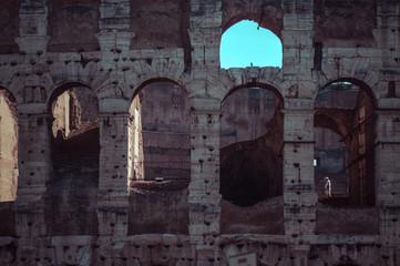 Italy, Rome, Coliseum facade ruins
