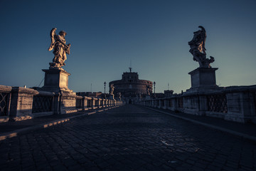 Italy, Rome, Ponte Sant Angelo at sunrise