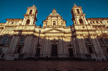 Italy, Rome, Piazza Navona church at sunrise