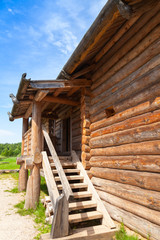Old rural Russian house fragment with stairway